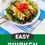 Pinerest graphic for chicken taquitos recipe.