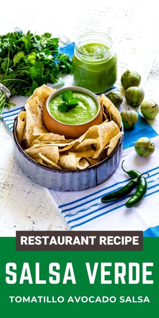 Pinterest graphic for best salsa verde recipe.