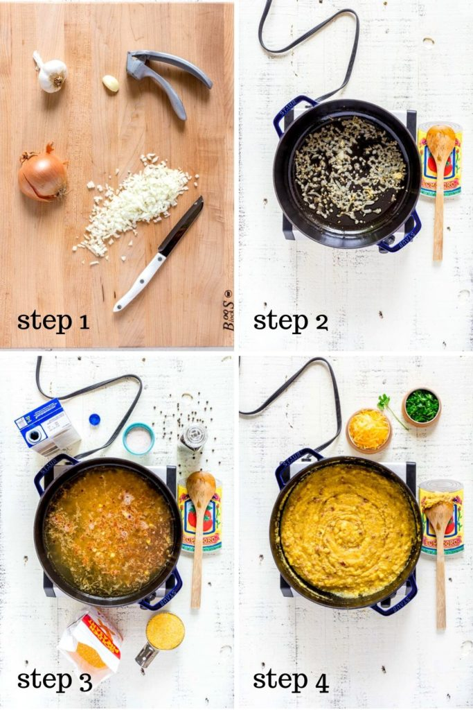 4-image collage showing how to make creamy mushroom polenta step by step.