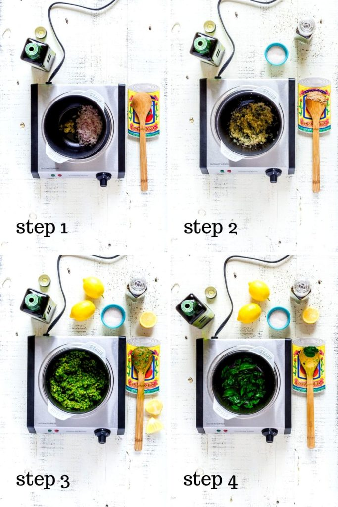 Step-by-step instructions for farro risotto recipe.