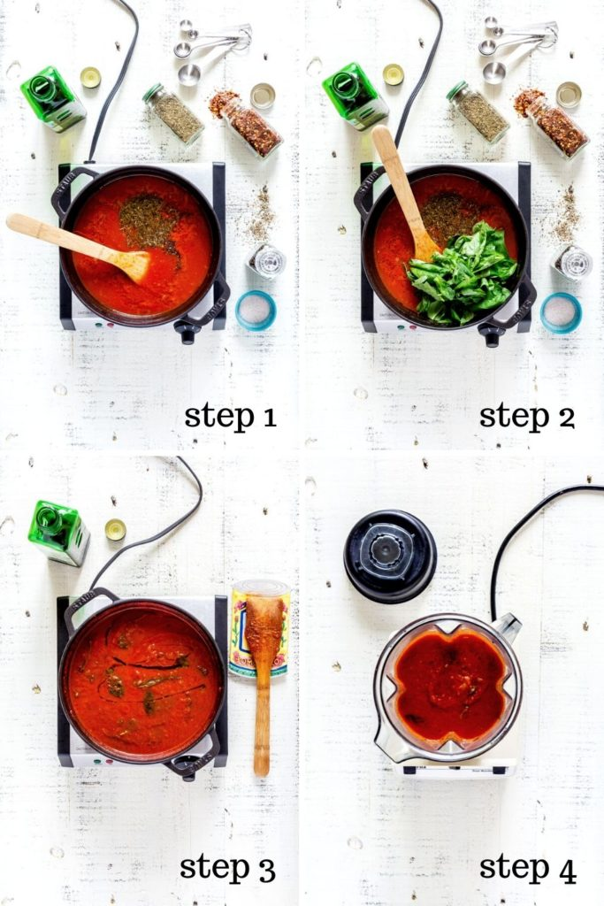 Four images showing recipe instructions for homemade tomato soup.
