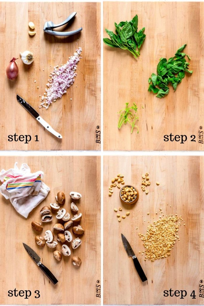 Farro Risotto recipe prep shown in 4 step-by-step images.