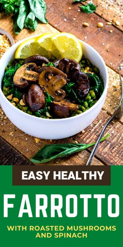 Pinterest image for healthy farrotto recipe.