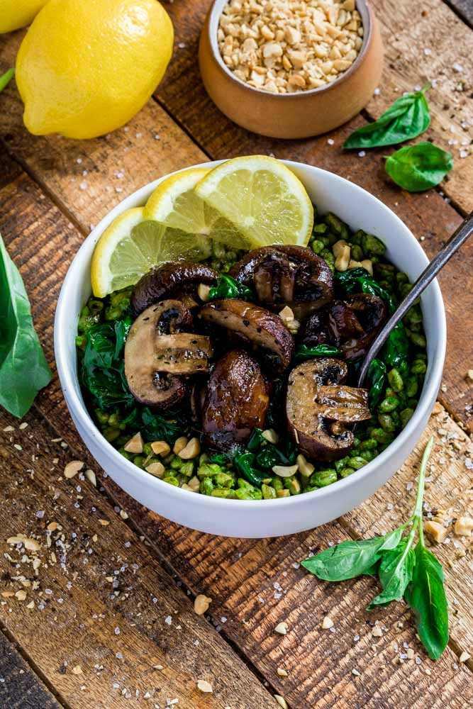 Farrotto with roasted mushrooms and wilted spinach.