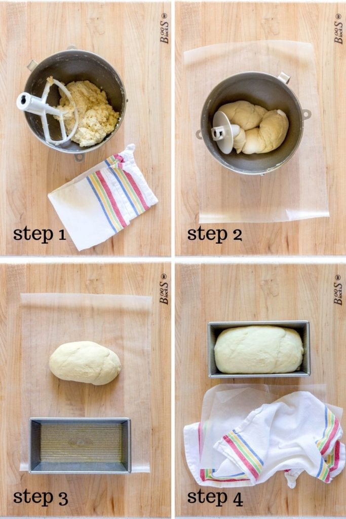 4 images showing how to make homemade white bread for sandwiches.