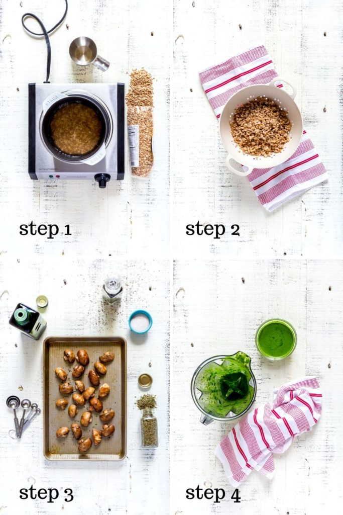 4-image collage showing how to cook farro, step by step.