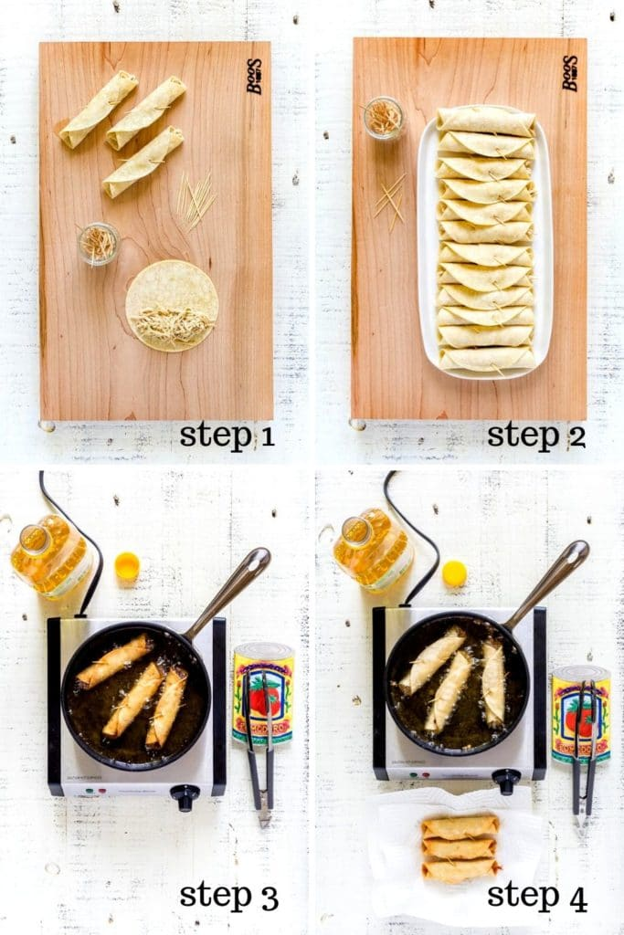 4-image collage showing how to make rolled chicken tacos at home.