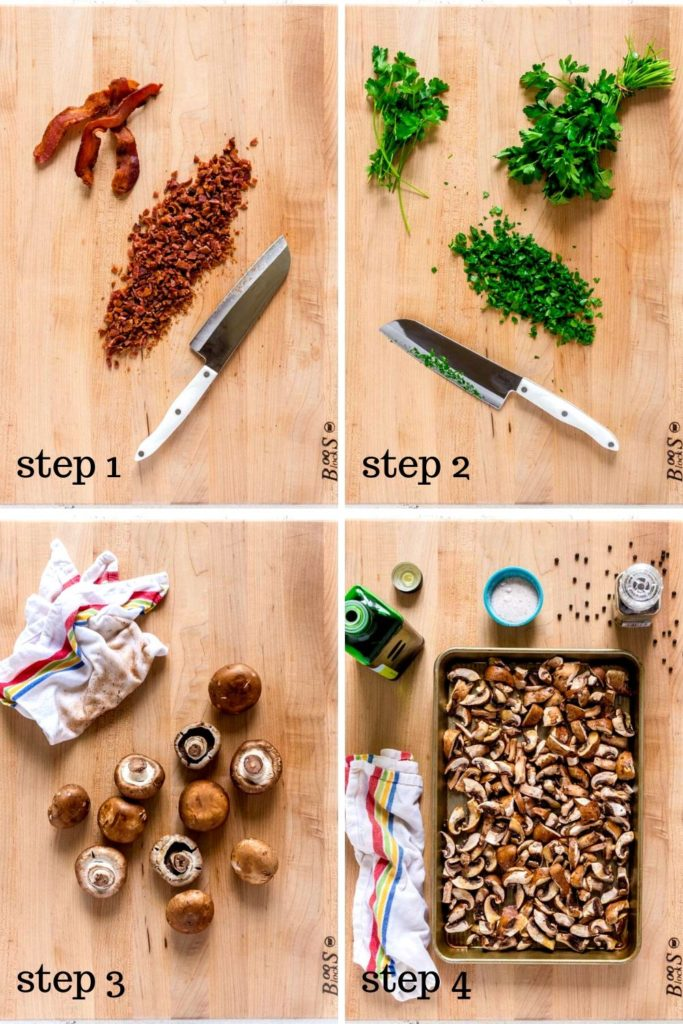 4-image collage showing how to make the best mushroom polenta, step by step.