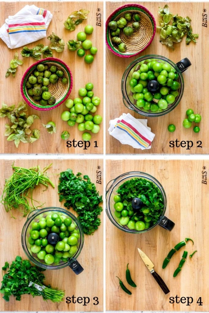 4-image collage showing how to make salsa verde recipe, step by step.