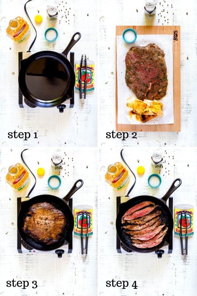 Steak fajita recipe for preparing beef fajitas shown in a step-by-step 4-image collage.