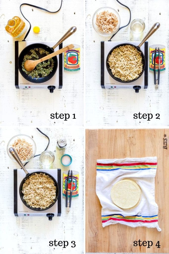 How to make rolled chicken tacos, step by step.