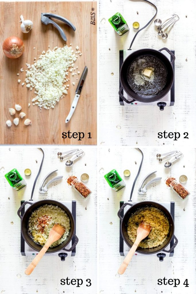 Four images showing how to make tomato basil soup recipe, step by step.