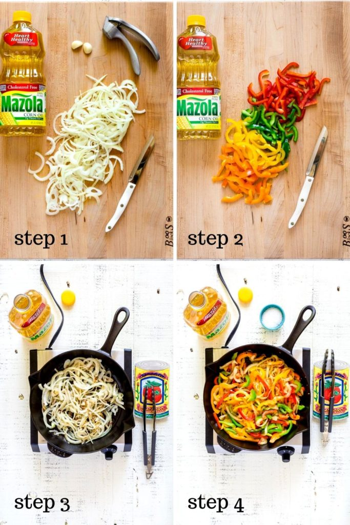 4-images showing how to grill vegetables for beef fajitas.