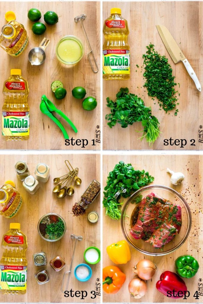 Four-image collage showing how to make the best steak fajita marinade, step by step.