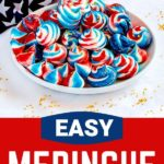 Pinterest Graphic for 4th of July cookies in red, white and blue.
