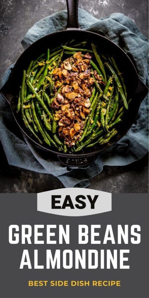 Pinterest graphic for Green Beans Almondine.