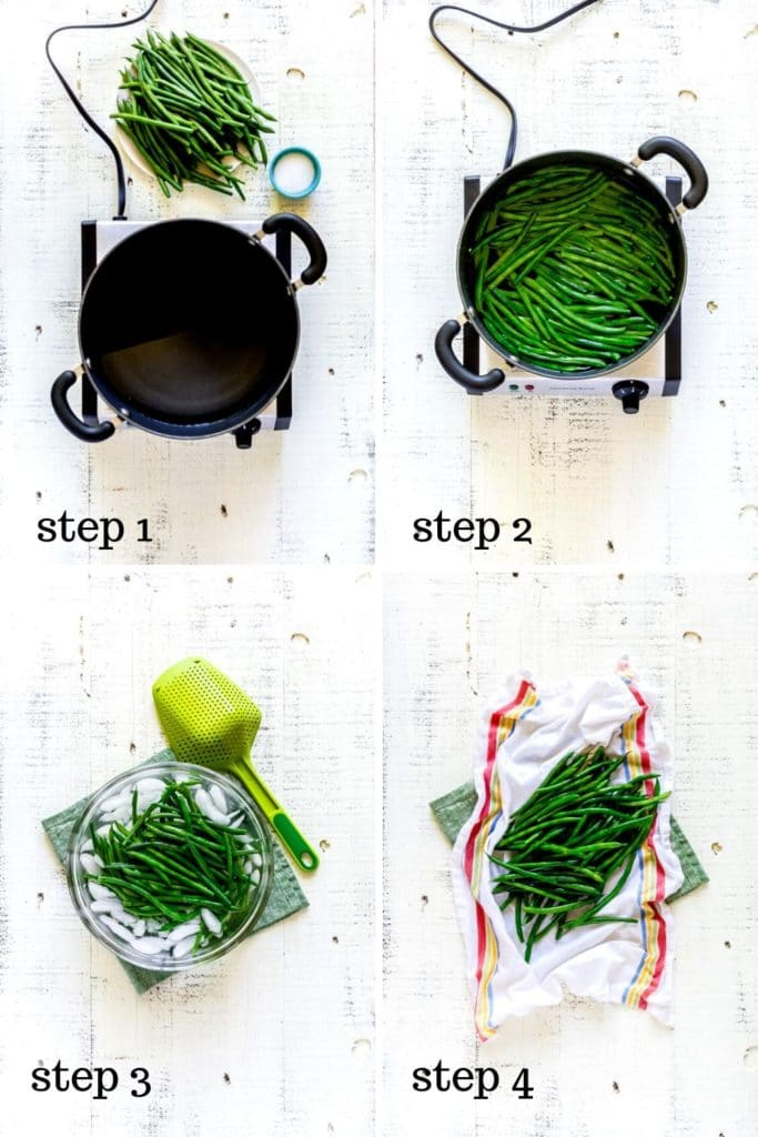 Four-image collage showing how to make French Green Beans Almondine recipe.