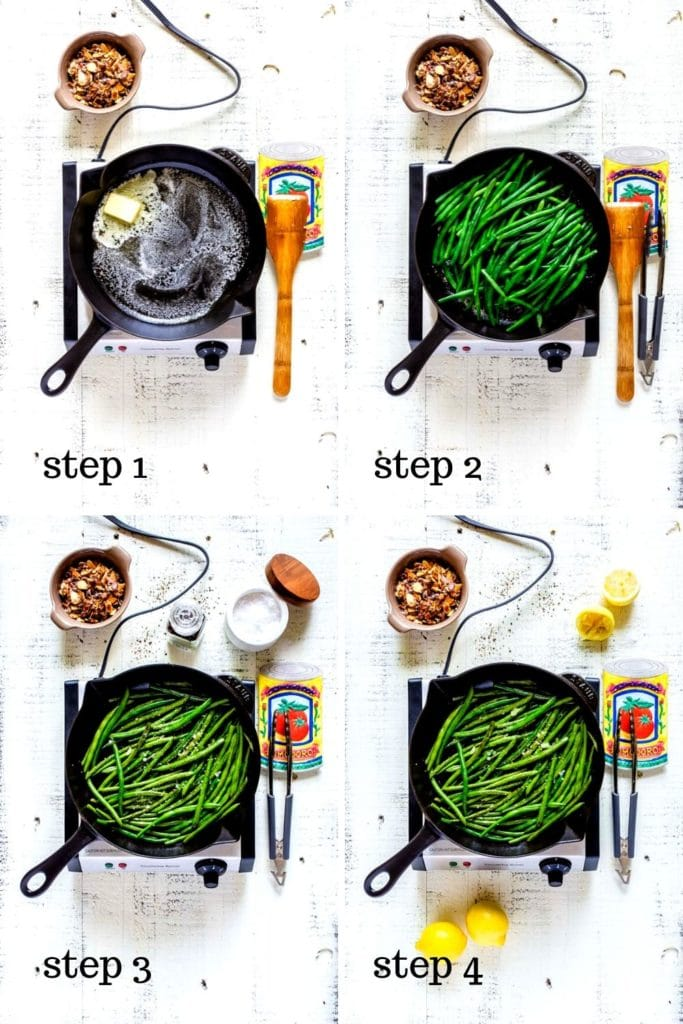 Four-image recipe collage showing how to make the best French green beans side dish.