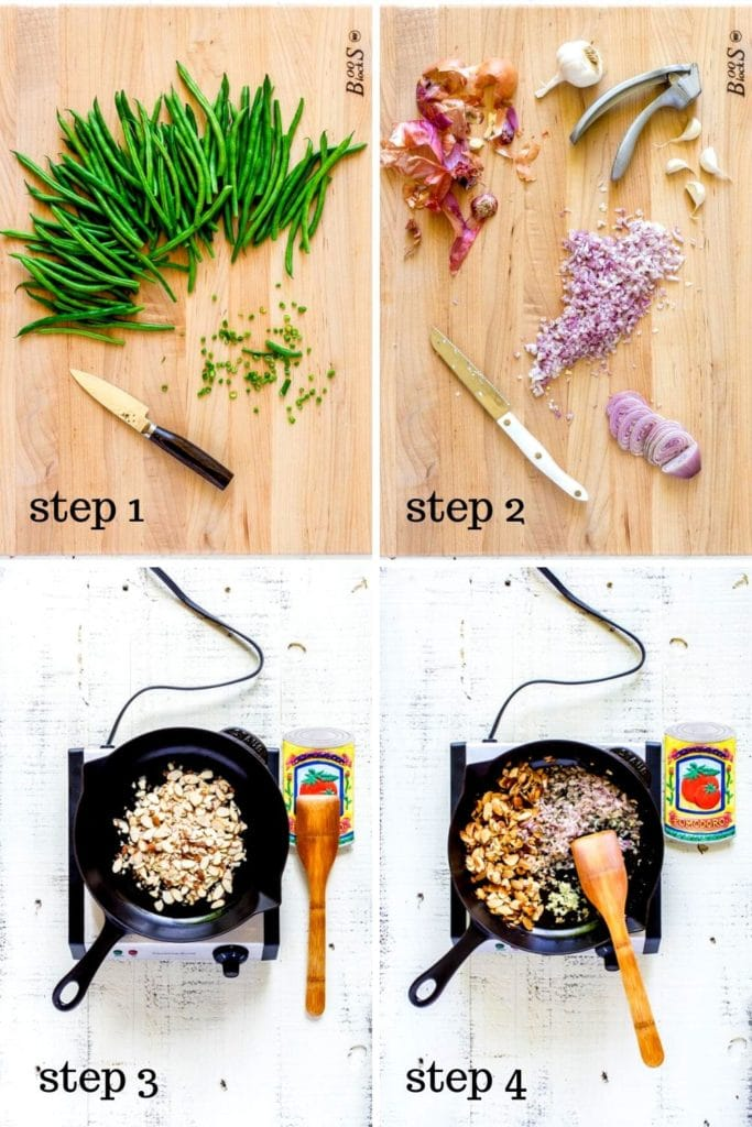 Four-image collage showing how to make the best Green Bean Almondine recipe.