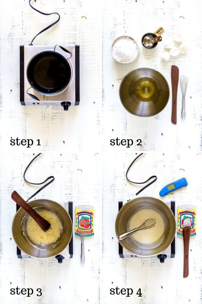 Four-image collage showing how to make a basic Meringue, step by step.
