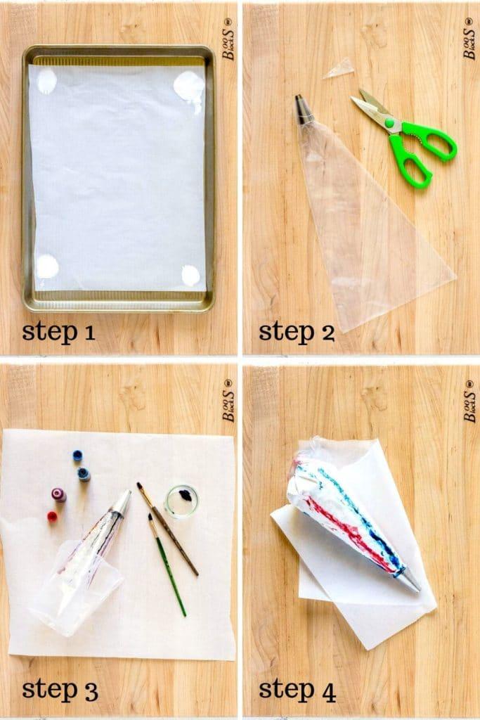 4 step-by-step images showing how to make patriotic meringue cookies.