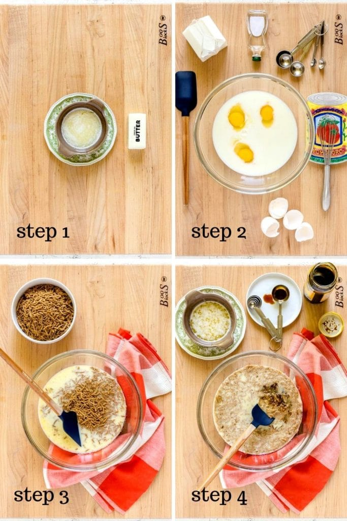 4 image collage showing how to make all bran muffins from scratch.