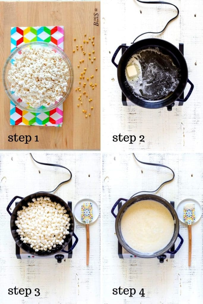 A 4-image collage showing step-by-step recipe instructions for confetti popcorn.