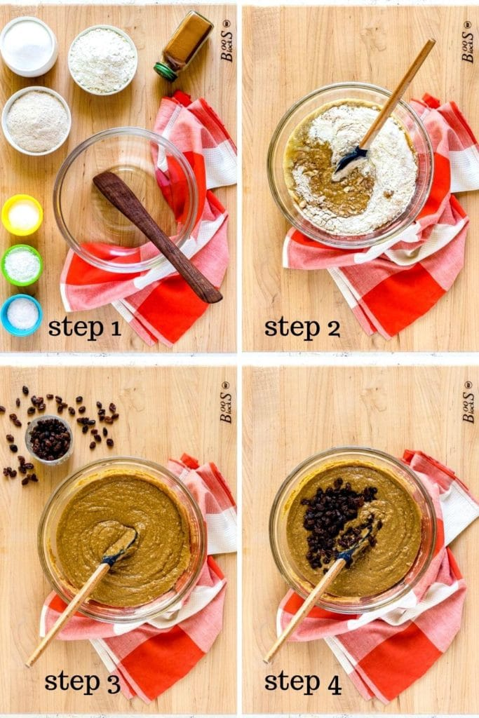 Bran muffin recipe instructions shown step-by-step in a 4-image collage.