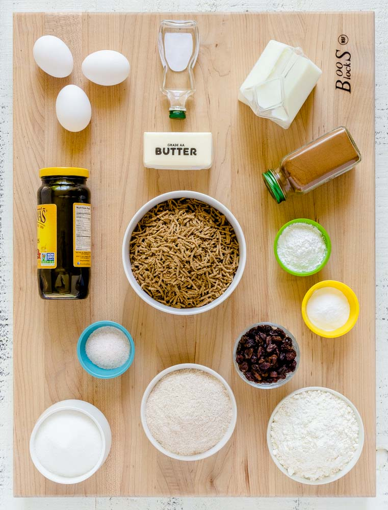 The ingredients for bran muffins laid out on an XL Boos Blocks maple board.