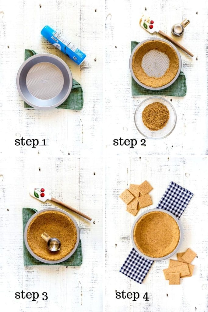 4-image collage showing how to make a graham cracker pie crust from scratch.