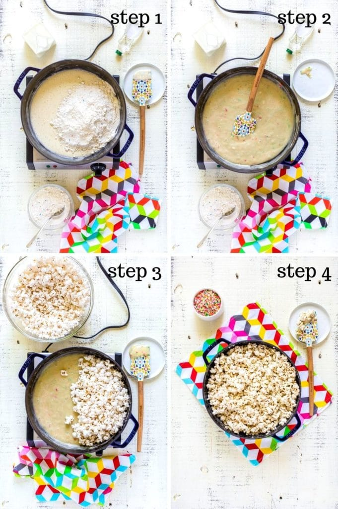 A 4-image collage showing step-by-step instructions for birthday cake popcorn recipe.
