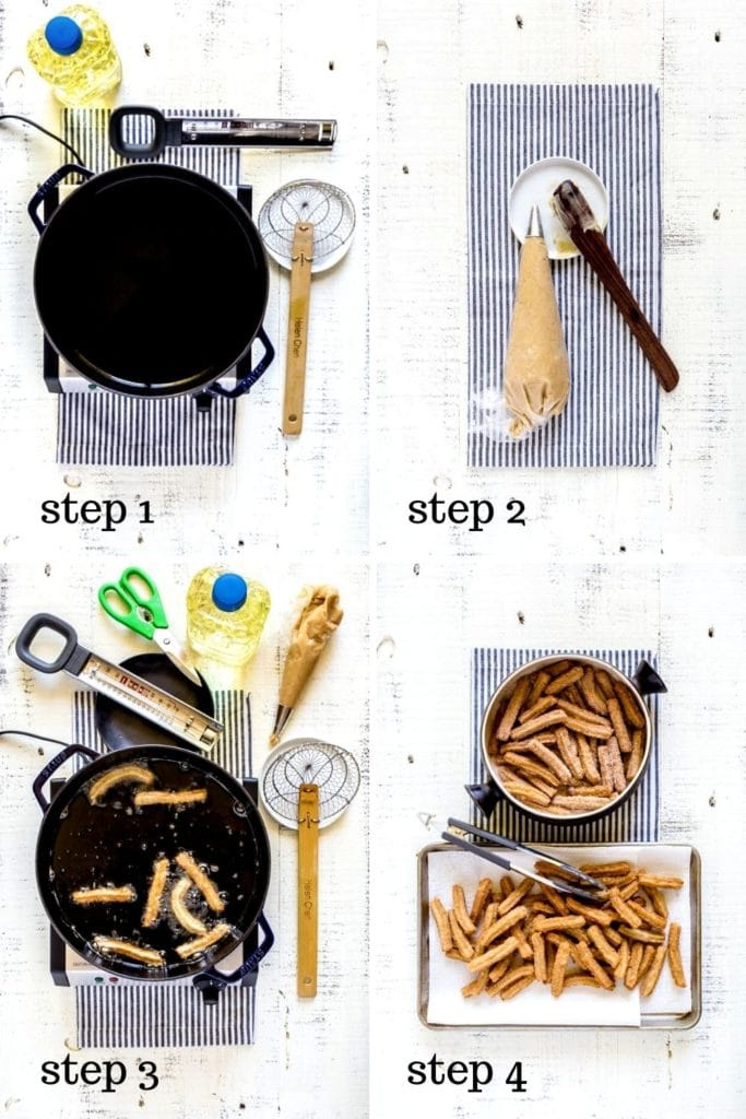 4 images showing step by step how to make this easy churro recipe.