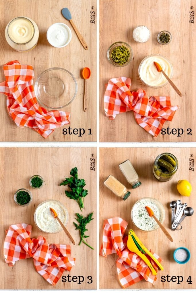 4-images showing how to make easy tartar sauce from scratch.