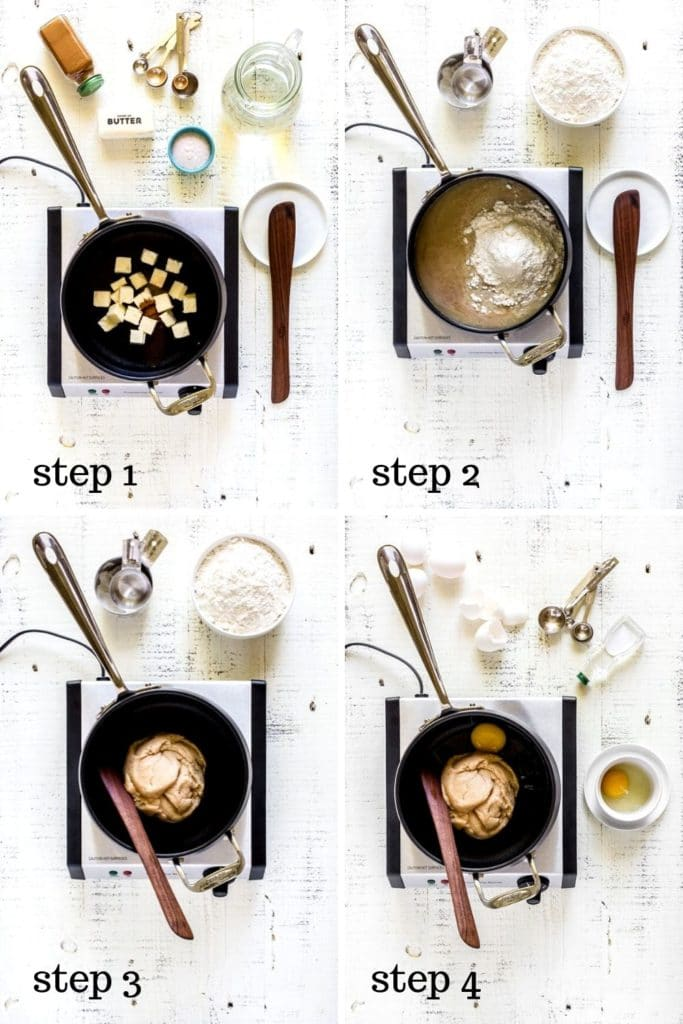 Four images showing how to make Disneyland churros, step by step.