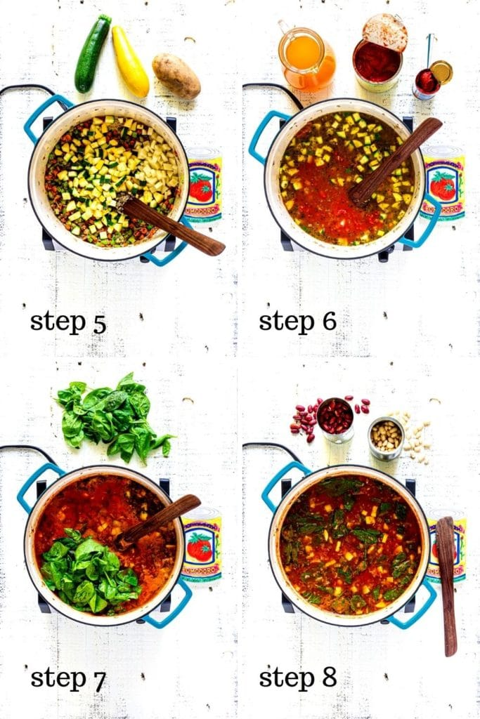 4 images showing step-by-step how to make Olive Garden Minestrone Soup at home.