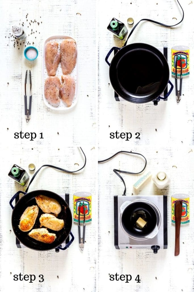A collage of 4 overhead images showing how to make pesto chicken step by step.