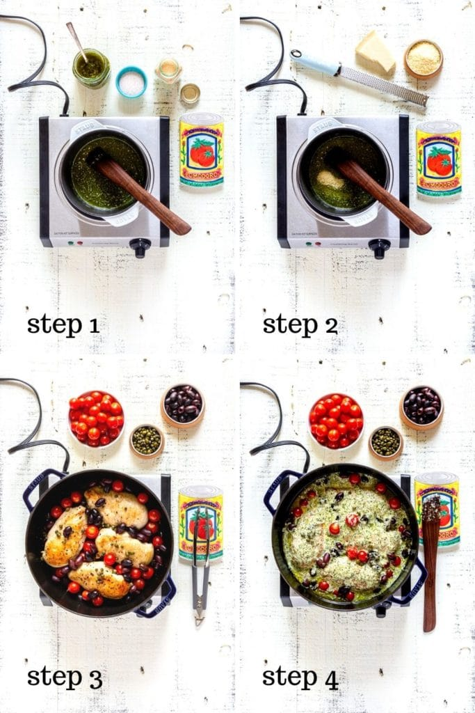 Collage of 4 overhead images showing how to make the best Basil Pesto Chicken.
