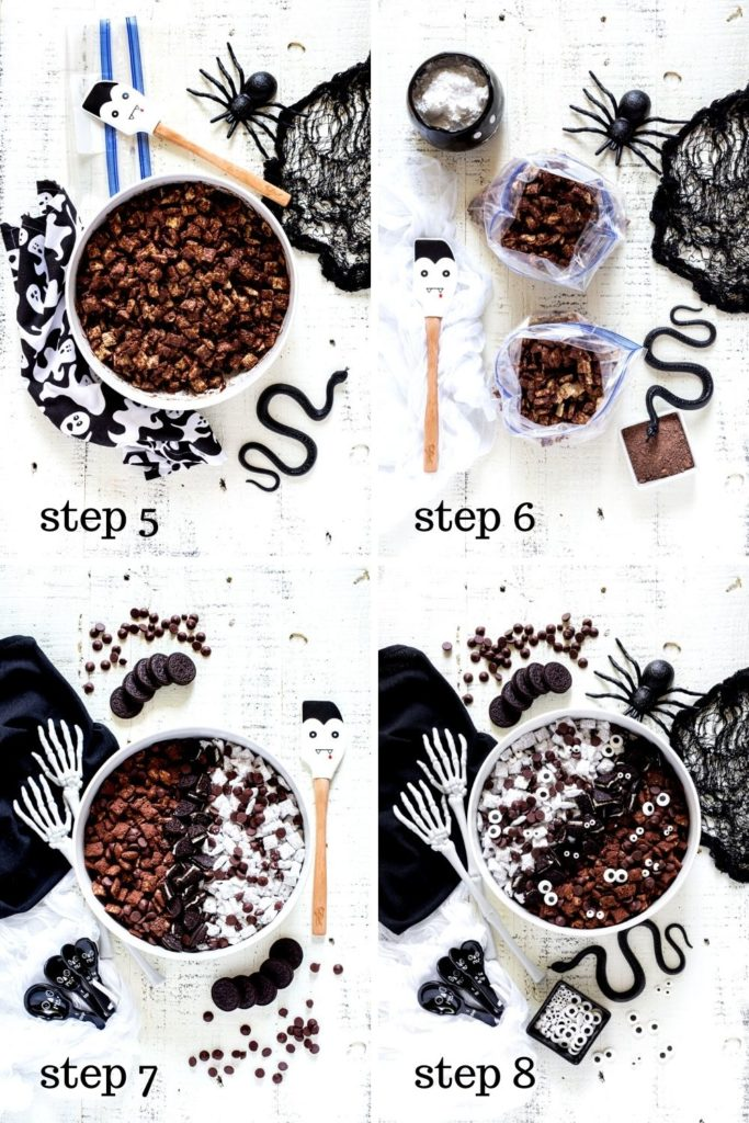 4 Halloween muddy buddies images showing how to assemble this Halloween Chex Mix, step by step.