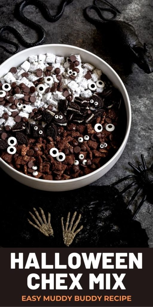 Pinterest graphic for Halloween Chex mix.