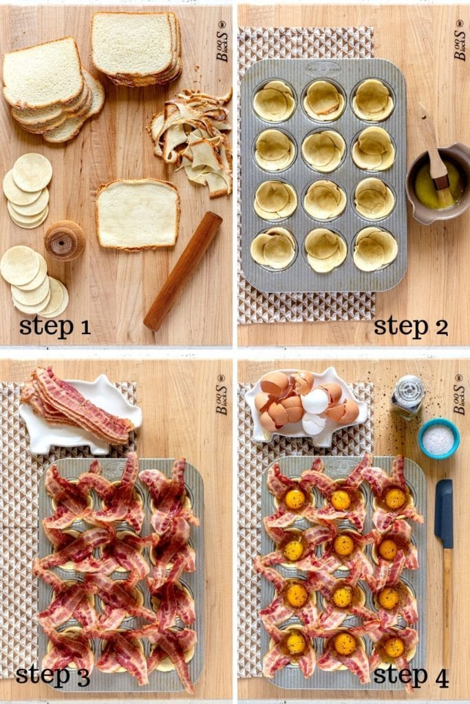 4 step-by-step images showing how to make bacon egg cups in a muffin tin.