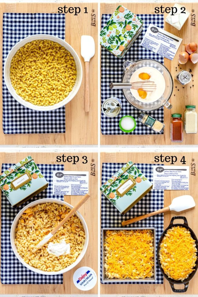 Four-image collage showing how to make Southern baked mac and cheese step by step.