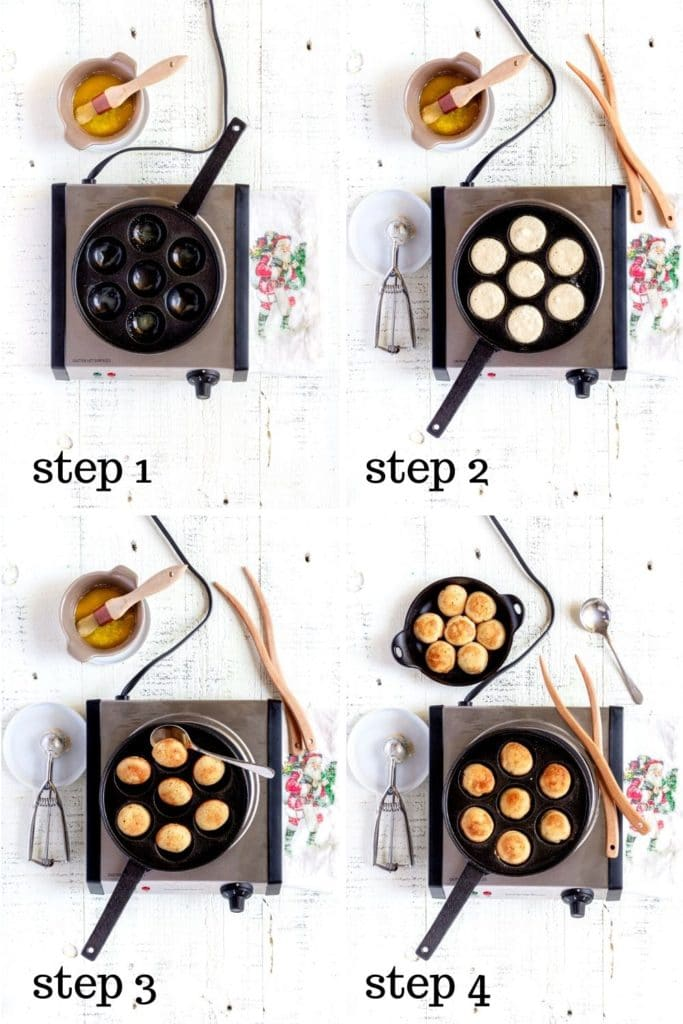 Four overhead images showing how to make Ebelskiver, step by step.