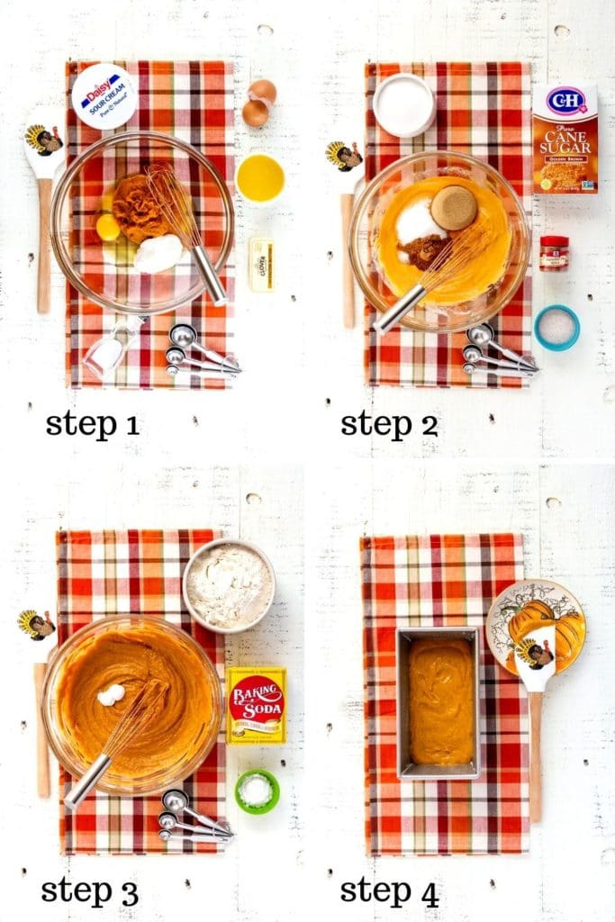 Four helpful images how to make pumpkin bread, step by step.