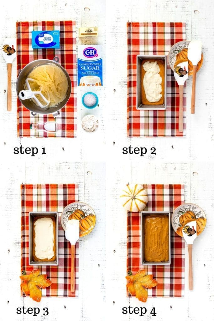 4 images showing how to make delicious cream cheese filling for pumpkin bread.