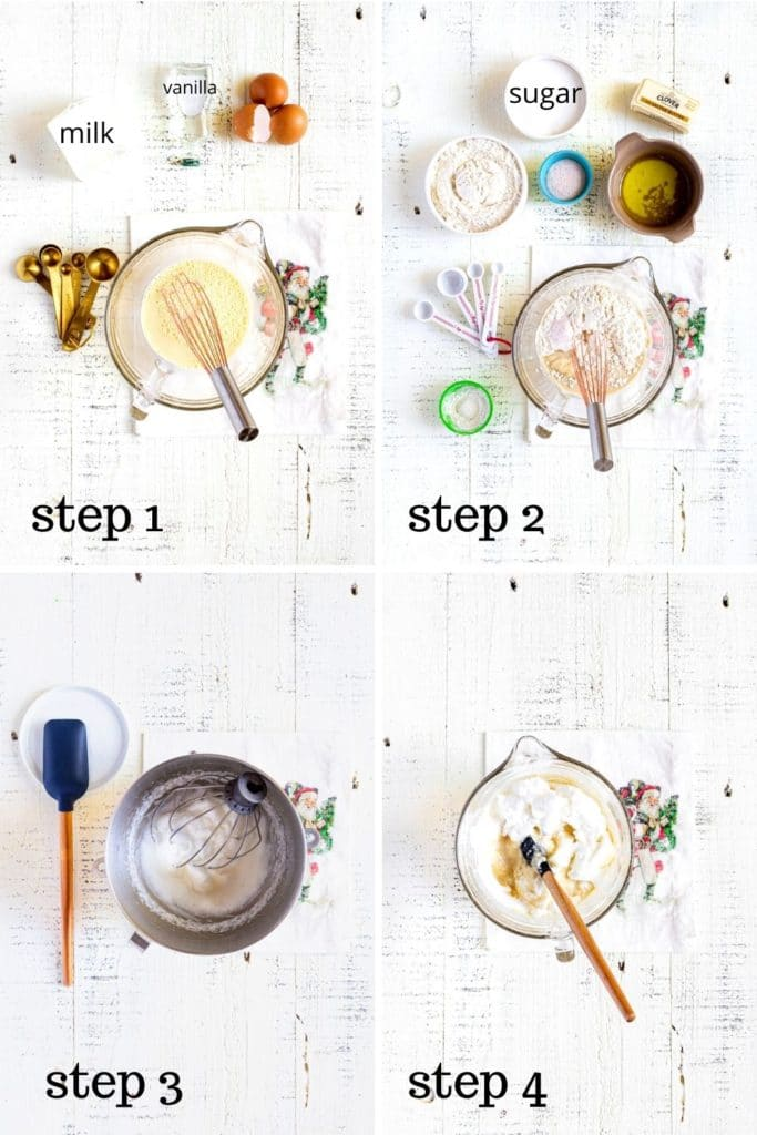 Four overhead images showing how to make Aebleskiver mini pancakes, step by step.