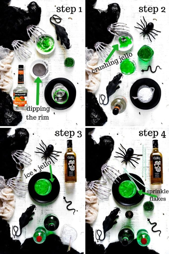 4-image collage showing how to make Halloween cocktails with tequila and green Jello.