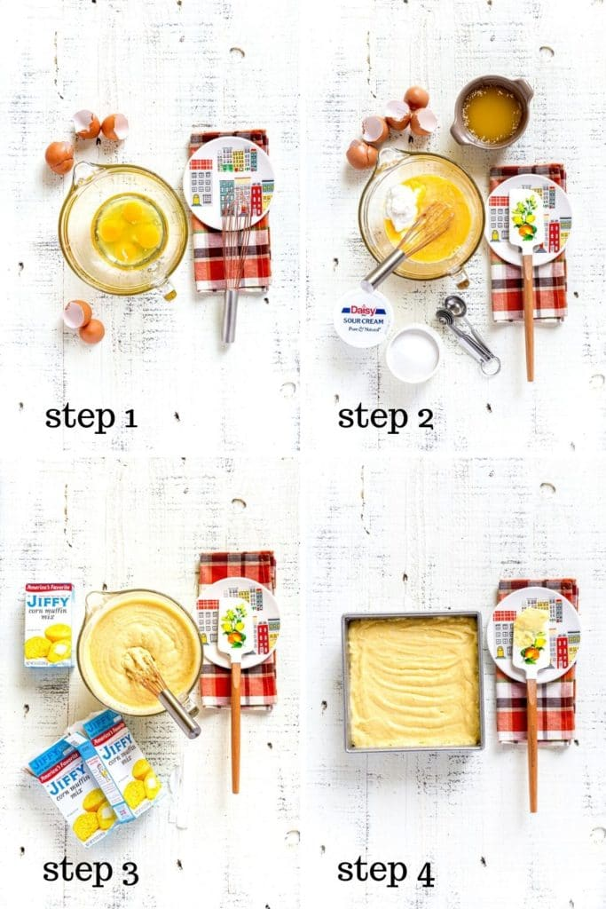 4-image collage showing how to make Jiffy cornbread better, step by step.