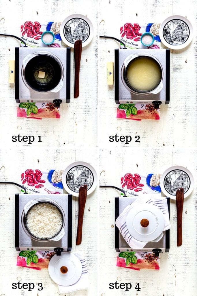 4-image collage showing how to make white rice for red beans and rice recipe.