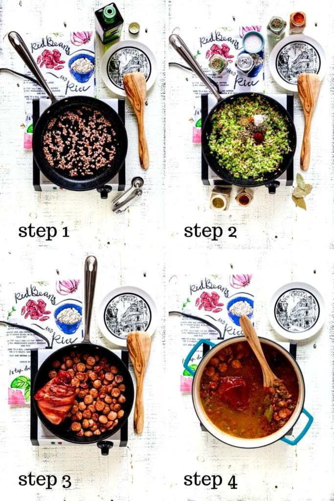 4-images showing how to make red beans and rice, step by step.