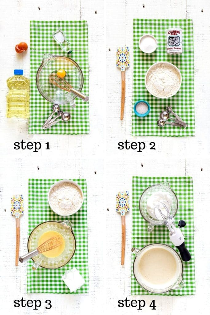 4-image collage showing how to make the best Belgian waffle recipe, step by step.